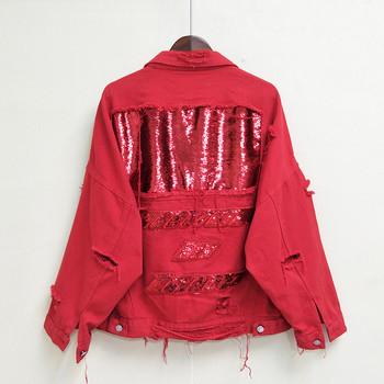 Модерно дамско дънково яке с пайети и разкъсани мотиви в черен и червен цвят