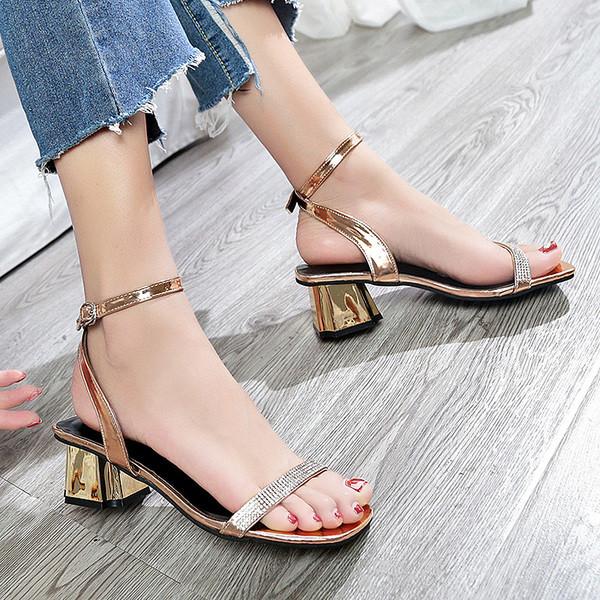 2f4be335102 Модерни дамски сандали с дебел ток и камъни в три цвята - Badu.bg - Светът  в ръцете ти