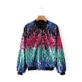 Дамско яке с пайети в преливащи цветове
