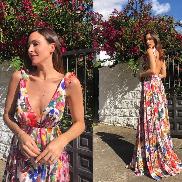 4cfc4346232 Дълга дамска рокля с флорален десен - Badu.bg - Светът в ръцете ти