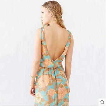 c89774b892b Дамска дълга рокля с флорален десен - Badu.bg - Светът в ръцете ти