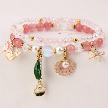 Дамска гривна в четири цвята с мъниста и перли