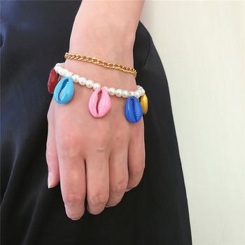 Комплект от две гривни с перли и цветни миди
