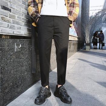 Спортно-елегантен мъжки панталон в черен и бежов цвят