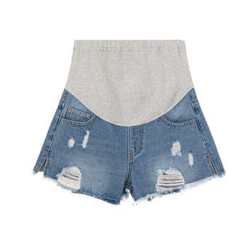 Модерни дамски къси дънкови панталони за бременни в син и черен цвят