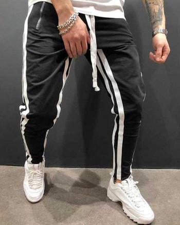 Спортно-ежедневен мъжки панталон с ципове и кантове в няколко цвята