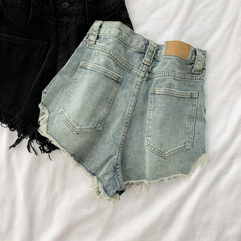 Дамски къси дънки с джобове в два цвята