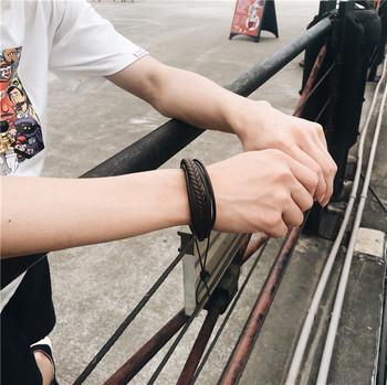 Мъжка гривна в черен и кафяв цвят