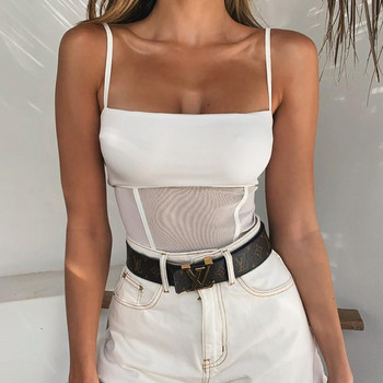 Дамско ежедневно боди с тънки презрамки в бял цвят