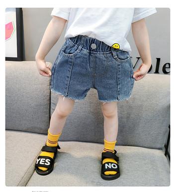 Детски къси дънки с копче и джобове-за момичета
