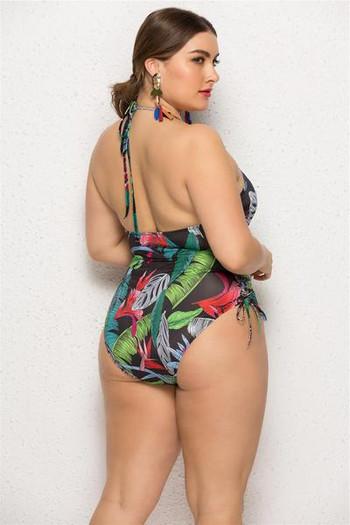 Μοντέρνο full swimsuit με floral μοτίβα και μεγέθη μέχρι 5XL
