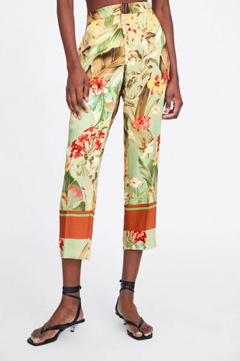 88ff9d66d38 Дамски елегантен панталон с 7/8 дължина и висока талия с флорален десен