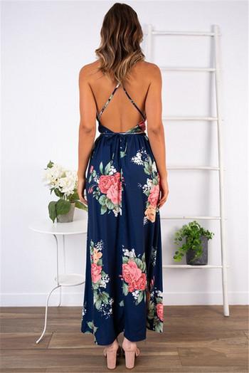 Дамска рокля с флорален десен в син цвят