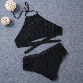 Модерен дамски бански костюм  от две части в черен цвят