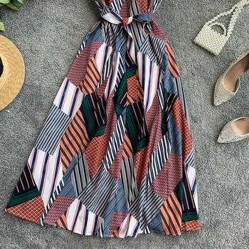 Дамска цветна рокля с тънки презрамки
