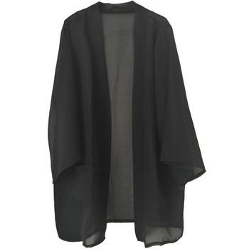 Дамски халат с джобове в черен и бежов цвят