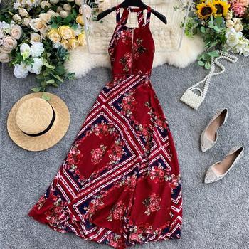 Модерна дамска рокля с  флорален десен