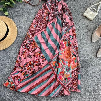 Цветна дамска дълга рокля с тънки презрамки