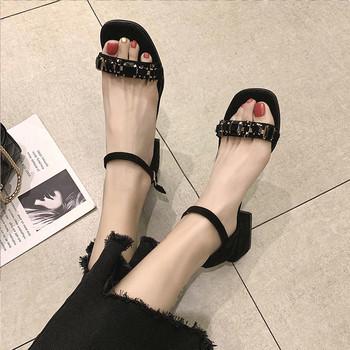Дамски сандали в два цвята от еко велур с декоративни камъни