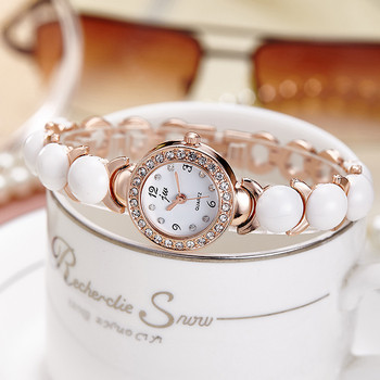 Модерен дамски часовник в бял цвят с камъни