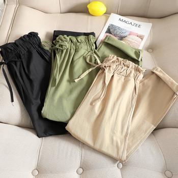 Ежедневен дамски панталон с висока талия в черен, кафяв и зелен цвят