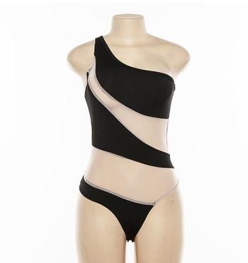 Модерен цял бански костюм с една презрамки и прозрачни части в черен цвят