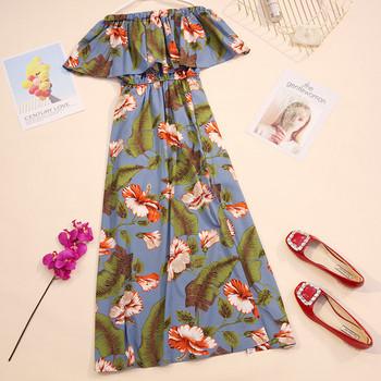 Лятна дамска дълга рокля с флорални мотиви в няколко цвята