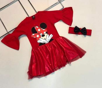 Детска рокля Мини маус с лента