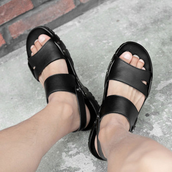 Модерни мъжки сандали от еко кожа в черен цвят
