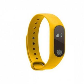 Фитнес гривна със силиконова каишка модел M2 в жълт цвят