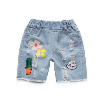 Детски къси дънки с апликация-за момичета