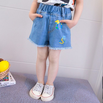 Детски къси дънки в син цвят с бродерия-за момичета