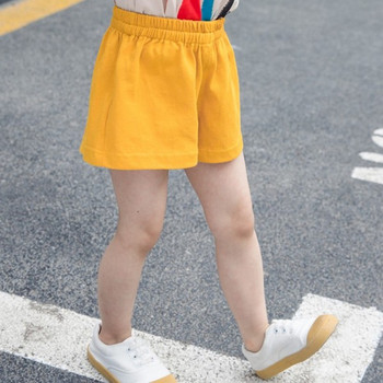 Детски къси панталони в жълт цвят за момичета