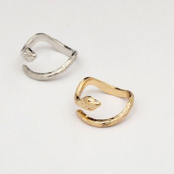 Модерен дамски пръстен във формата на змия в два цвята
