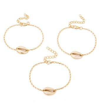 Дамски комплект от три гривни с миди в златист цвят