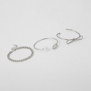 Дамски комплект от три гривни в златист и сребрист цвят