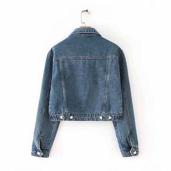 Късо дънково яке с дълъг ръкав в син цвят