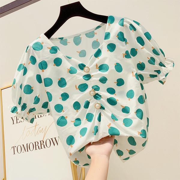 adc3248c330 Дамска блуза с къс ръкав и декорация перли - Badu.bg - Светът в ръцете ти