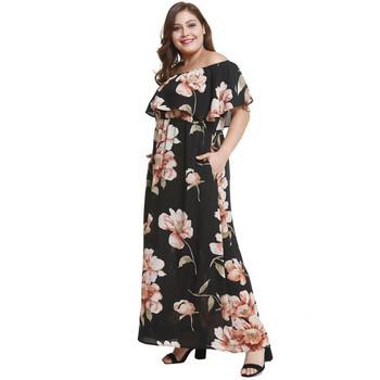 75b07bf1501 Модерна дамска дълга рокля с къс ръкав в черен и червен цвят и флорален  десен