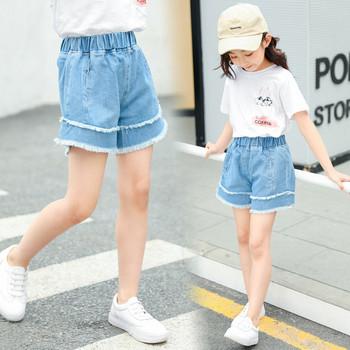 Детски къси дънки за момичета-в син цвят с джобове