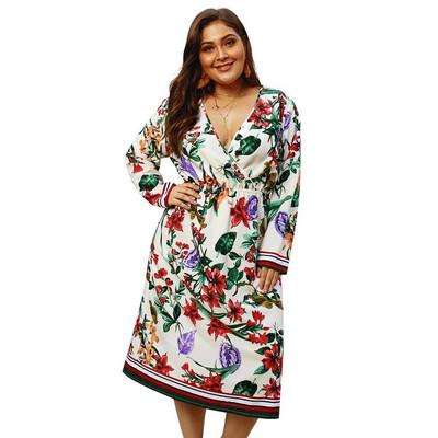 f2b0b050942 Модерна дамска рокля с дълъг ръкав и флорален мотив - Badu.bg - Светът в ръцете  ти