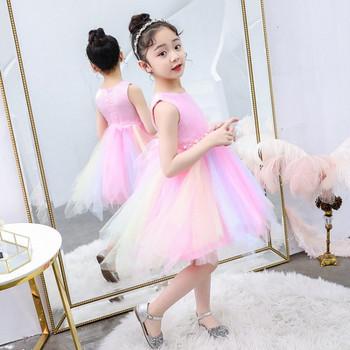 Детска стилна рокля в розов и син цвят с 3D елемент