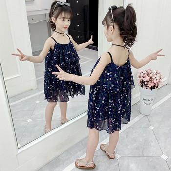 Модерна детска рокля в два цвята с тънки презрамки