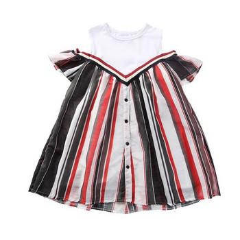 Актуална детска рокля с копчета и О-образно деколте