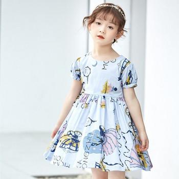 Детска рокля разкроен модел в три цвята