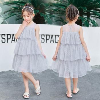 Стилна детска рокля с тюл-в сив и розов цвят