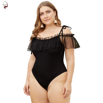 Цял бански костюм  в черен цвят с размер до 4XL