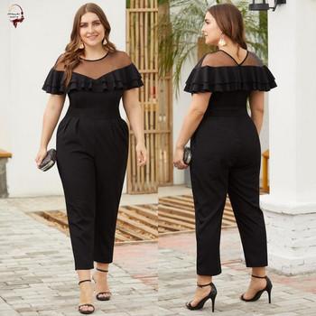 Стилен дамски дълъг гащеризон в черен цвят