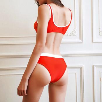 Дамски бански костюм от две части с връзки в червен и бял цвят