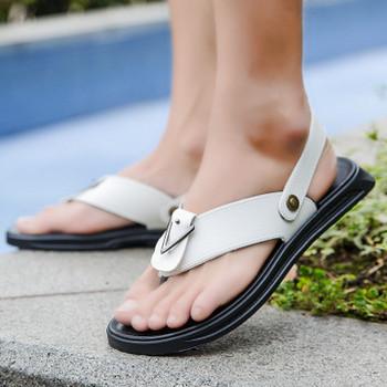 Ежедневни мъжки сандали от еко кожа в няколко цвята